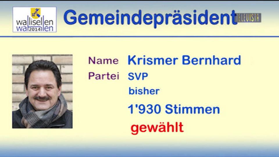 Vorschaubild für Bernhard Krismer als- Gemeindepräsident wiedergewählt